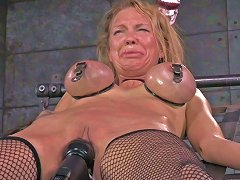 Tightly Bound Busty Blondie Rain Degrey Gets Punished By Perverted Couple
